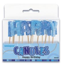 Blue Glitz 'Happy Birthday' 13 Candle Pack